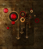 Grunge background. With arrows and circles stock illustration