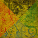 Grunge background. With filigree, cracks, dirt, floral, and brick stock illustration