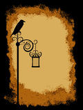 Grunge Background. Crow on top of old lantern over grunge vintage texture Stock Photos