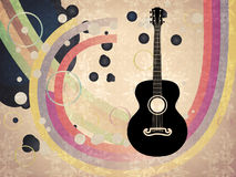 Grunge background with acoustic guitar Royalty Free Stock Photo