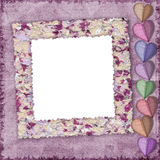 Grunge background adorned with paper hearts Royalty Free Stock Photography