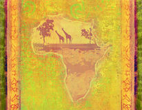 Grunge background with African continent. Raster illustrations vector illustration