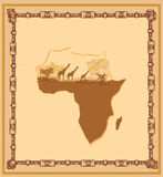 Grunge background with African fauna and flora. Illustration Royalty Free Stock Photos