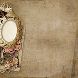 Grunge background with antique photo-frame Stock Images