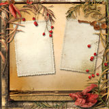 Grunge background with autumn leaves and a frame for photos Stock Image