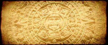 Grunge background with aztec calendar. Grunge background with old paper texture and aztec calendar Stock Photos