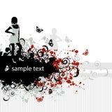 Grunge background, beautiful girl Stock Photo
