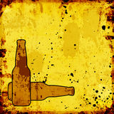 Grunge background with beer bottles Stock Photos