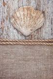 Grunge background with big seashell, rope on sackcloth Stock Photo