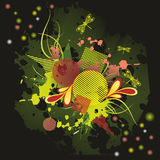 Grunge Background. With blots and dragonflies Vector Illustration