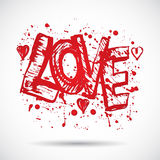 Grunge background with bright red heart. Love. Paint splash. Stock Photography
