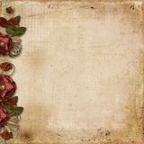 Grunge background with burgundy roses. Grunge background with border of vintage beautiful flowers, with place for photo and text Stock Images