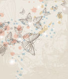 Grunge background with butterfly Stock Photography