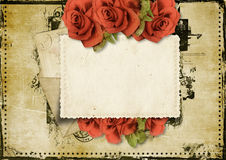 Grunge background with card and roses Royalty Free Stock Image