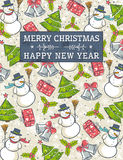 Grunge background with christmas elements and labe. L for message,  vector illustration Royalty Free Stock Image