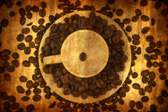 Grunge background with coffee elements Royalty Free Stock Photo