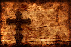 Grunge Background With Cross. Vintage Grunge Style Background With Cross and Scratches Stock Photos