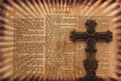 Grunge Background With Cross. Vintage Grunge Style Background with Bible Page and Cross Royalty Free Stock Photos