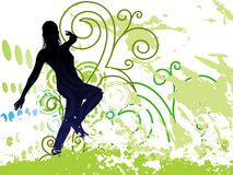 Grunge Background with dancing girl on Posters Stock Photos