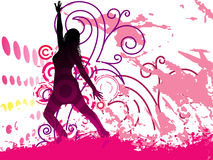 Grunge Background with dancing girl on Posters Stock Images