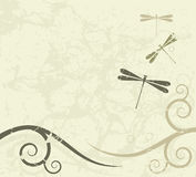 Grunge background with dragonflies Royalty Free Stock Photos