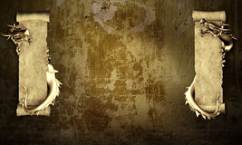 Grunge background with dragons and scrolls. Of old parchment Royalty Free Stock Images
