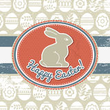 Grunge background with easter eggs and rabbit Stock Photography