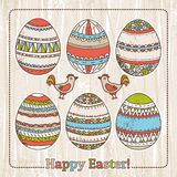 grunge background with easter eggs  Stock Images