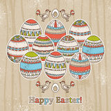 grunge background with easter eggs, vector Stock Photography
