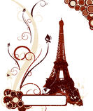 Grunge background with Eiffel tower Stock Photos