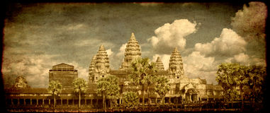 Grunge background with famous landmark Angkor Wat complex Royalty Free Stock Photo