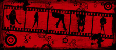 Grunge Background With a Film. Film Strip of Girl Silhouettes on Red Grunge Background Stock Images