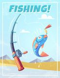 Grunge background with fishing rod and fish. Vector illustration Royalty Free Stock Photography