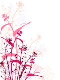 Grunge background with flowers and butterflies Stock Images