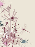 Grunge background with flowers and dragonfly Stock Photos