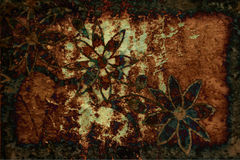 Grunge Background With Flowers and Scratches Royalty Free Stock Photos