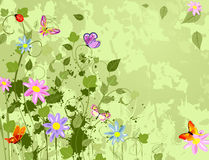 Grunge background with flowers summer Stock Photo