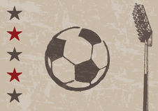 Grunge background - football and floodlight. With stars Royalty Free Stock Photography