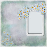 Grunge background with frame and spring flowers Stock Image