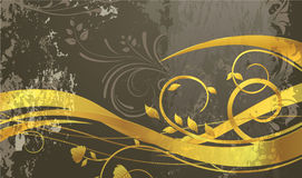 Grunge background with gold floral Royalty Free Stock Photo