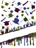 Grunge background of graduates tossing. Grunge background illustration of a group of graduates tossing Stock Photos