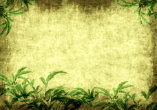 Grunge background with green leaves Royalty Free Stock Photos