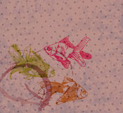 Grunge background with Hand drawing gold fishes Royalty Free Stock Photo