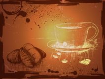 Grunge background with hand drwn cup of coffee and coffee beansa Royalty Free Stock Photos