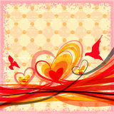 Grunge background with hearts, birds and flowing lines Stock Images