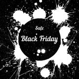 Grunge background with an inky dribble for Black Friday Stock Images