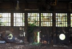 Interior of an abandoned factory with old machinery and ivy on walls, windows and on a half-open iron door stock photos
