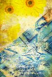 Grunge background with jeans and flowers Royalty Free Stock Photos