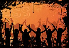 Grunge background with jumping silhouettes, vector royalty free illustration