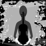 Grunge background with musical notes and woman Royalty Free Stock Images